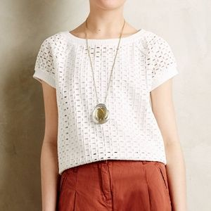 Anthro Weston Dara Eyelet Pullover